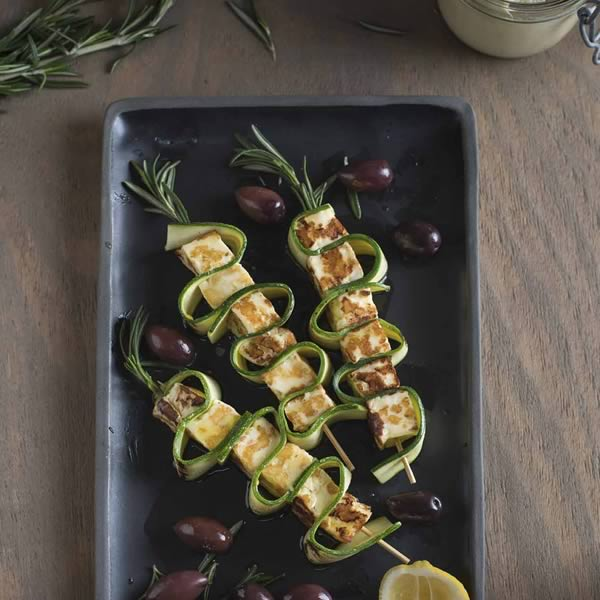 Haloumi & Courgette Skewers with Mint & Rosemary