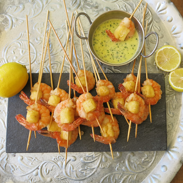 Prawn and Haloumi Skewers
